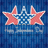Independence Day. 4th July star paper cut out card Royalty Free Stock Photography