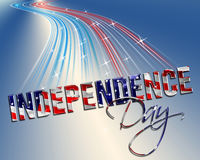 Independence Day 4th of july. Independence Day dimensional lettering motion blur blue gradient background stock illustration