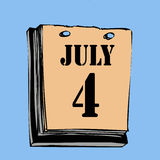 Independence Day. A calendar showing that it's July 4th, Independence Day stock illustration