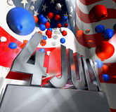 Independence day. July 4 in silver letters on a silver pedestal  and a lot of coloured big and small balloons in front of the american flag Royalty Free Stock Photography