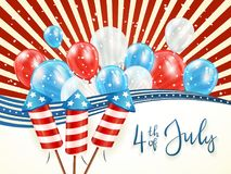 Independence day abstract background with balloons. Independence day abstract background with lines and stars. Text 4th of July with balloons and rocket Royalty Free Stock Photography