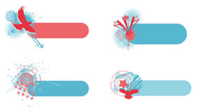 Independence day abstract banners. 4 american inspired banners. They have USA related icons and a grunge and trendy feel to them. Suitable as July 4th banner stock illustration