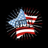 Independence Day of America Emblem. Star and flag USA in grunge. Style. Symbol for national patriotic national holiday in United States July 4th Stock Photo