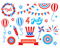 Independence day of America festive doodles set. Patriotic american holiday Fourth of July. Vector illustration. Greeting card, wrapping paper, cover design Royalty Free Stock Photos