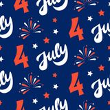 Independence day of America festive seamless pattern background. Patriotic american holiday Fourth of July. Vector illustration. Greeting card, wrapping paper Royalty Free Stock Photography