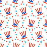 Independence day of America festive seamless pattern background. Patriotic american holiday Fourth of July. Vector illustration. Greeting card, wrapping paper Stock Images