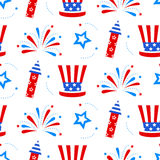 Independence day of America festive seamless pattern background. Patriotic american holiday Fourth of July. Vector illustration. Greeting card, wrapping paper Royalty Free Stock Photos