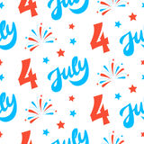 Independence day of America festive seamless pattern background. Patriotic american holiday Fourth of July. Vector illustration. Greeting card, wrapping paper Stock Photography