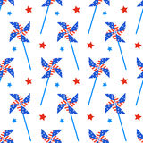 Independence day of America festive seamless pattern background. Patriotic american holiday Fourth of July. Vector illustration. Greeting card, wrapping paper Stock Photo
