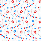 Independence day of America festive seamless pattern background. Patriotic american holiday Fourth of July. Vector illustration. Greeting card, wrapping paper Royalty Free Stock Photo