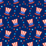 Independence day of America festive seamless pattern background. Patriotic american holiday Fourth of July. Vector illustration. Greeting card, wrapping paper Royalty Free Stock Image