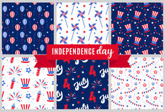 Independence day of America festive seamless pattern backgrounds set. Patriotic american holiday Fourth of July. Vector illustration. Greeting card, wrapping Stock Photography