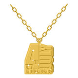 Independence Day america gold necklace jewelry on chain. Stock Photo