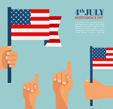 Independence Day in America. hand holding USA flag. Stock Photography