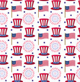 Independence Day of America seamless pattern. July 4th an endless background. USA national holiday repeating texture Stock Photos