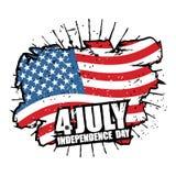 Independence Day of America. USA flag grunge style Brush strokes Stock Image