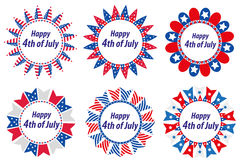 Independence Day America, USA. Set of round frames with flags. Collection of decorative elements with space for text for. July 4th. Vector illustration, clip Stock Illustration