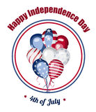 Independence day of America vector card. 4th of July greeting card. USA Independence Day. Bunch of balloons with american flag elements. America national Stock Photo