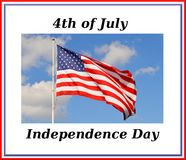 Independence Day. American Independence Day with flag and blue sky background Royalty Free Stock Images