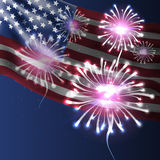 Independence day. American flag and fireworks background. Independence day. American flag and fireworks on dark blue background Stock Photo