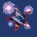 Independence day. American flag and fireworks in big star. Independence day. American flag and fireworks in big star on dark blue Royalty Free Stock Photos