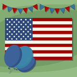 Independence Day, American flag. Holiday of July 4. Independence Day of the United States. Decorated with an American flag. July 4th Flyer. Simple flat vector vector illustration