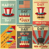 Independence Day. American  Posters Set in Retro Style. Fourth of July. Illustration Royalty Free Stock Photos
