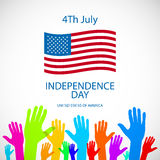 Independence day American signs hanging with chain, vector illustration Royalty Free Stock Image