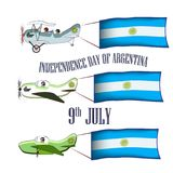 Independence Day of Argentina, set with three planes and national flags on an isolated background. Vector illustration Stock Illustration