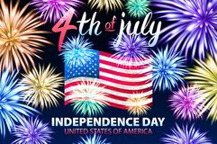 Independence day background with American flag and fireworks on dark sky. 4th of july, illustration. vector. Art stock illustration