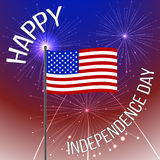 Independence day background with American flag and fireworks. independence day, illustration. Stock Photography