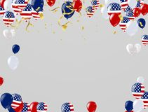 Independence Day background with american flags, balloons, uncle. Sam hat. Can be used for 4th july as party Royalty Free Stock Images