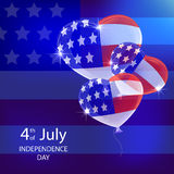 Independence day background with balloons. And American flag, illustration Royalty Free Stock Photo