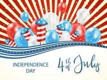 Independence day background with balloons and firework rockets. Independence day background with stars and red and blue lines. Lettering 4th of July with Royalty Free Stock Image