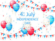 Independence day background with balloons. Pennants and confetti on white, illustration Stock Image