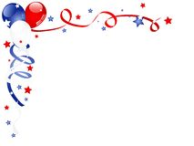 Carnival background. Independence day background with balloons and ribbons Stock Photos