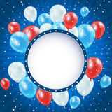 Independence day background with balloons and stars Stock Photos