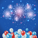 Independence day background. Independence day blue background with firework and balloons, illustration Stock Image