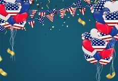 Independence day background and day celebration greeting card US stock illustration