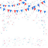 Independence day background with confetti. Independence day background with colored flags and confetti, illustration Royalty Free Stock Photo