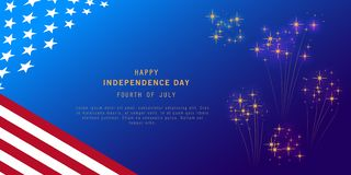 Independence Day background with fireworks and USA flag. Fourth of July celebration banner, poster, flyer, greeting card design. Memorial Day. Space for text stock illustration