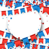 Independence Day background with flags. Round USA background with colorful flags and stars. Vector paper illustration royalty free illustration