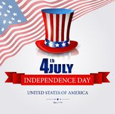 Independence day background with hat and american flag Stock Photography