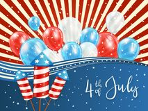 Independence day background with red and blue balloons. Independence day background with red lines and lettering 4th of July with balloons and rocket fireworks Royalty Free Stock Photography