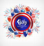 Independence day background with round banner and balloons, vector illustration. Royalty Free Stock Image