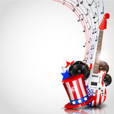 Independence Day Background with Theme of Music Royalty Free Stock Images