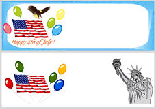 Independence Day backgrounds and banners. Independence Day vector backgrounds and banners with flag, eagle and Liberty statue Stock Photography