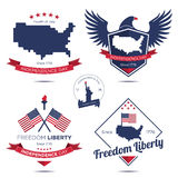 Independence day badge and icon. Fourth of July : Independence day badge, icon and label stock illustration