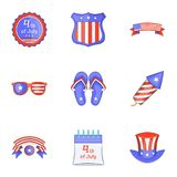 Independence day badge icons set, cartoon style. Independence day badge icons set. Cartoon set of 9 independence day badge vector icons for web  on white Stock Photo
