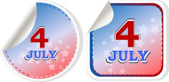 Independence day badge on patriotic background. Stickers set Stock Photos